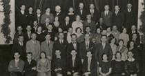 Finnish organization (Small Hall at 316 Bay St) in the 1930's. Back row 5th from left: Antti Kari, Edwm Sukai & Yrjo Saivo - front far right 2nd row 5th: Frank Makela